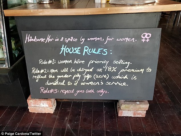 House rules (pictured) at Handsome Her detail the cafe's 18 per cent premium for male customers