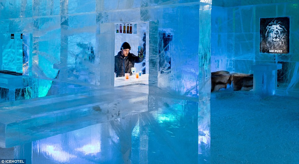 The resort also boasts an ice bar (pictured) in addition to a spa and a warm restaurant where guests can thaw out