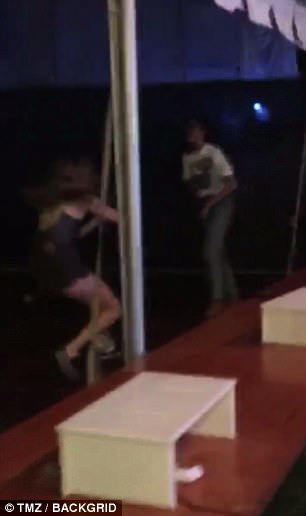 Footage also showed Malia dancing with one of her friends, who took their own moves to the ground during the show