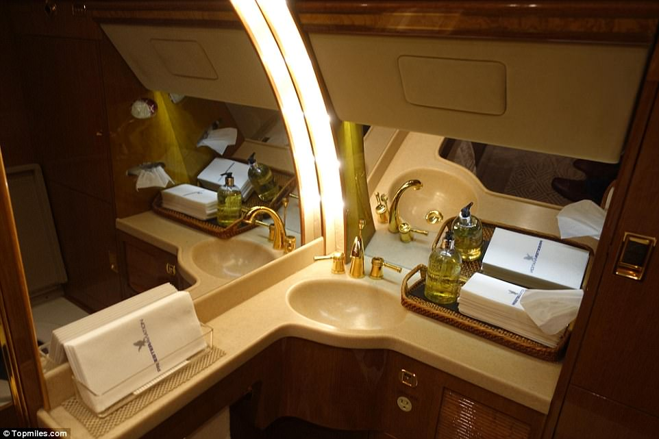 Opulence: The bathroom, Huang said, was one of the stand-out features of the plane