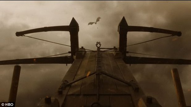 Qyburn's monster spear-launcher 'The Scorpion' knocked Drogon from the sky but the beast pulled up before (crash) landing and mustered a blast at Jaime Lannister suggesting its wounds were not fatal after all