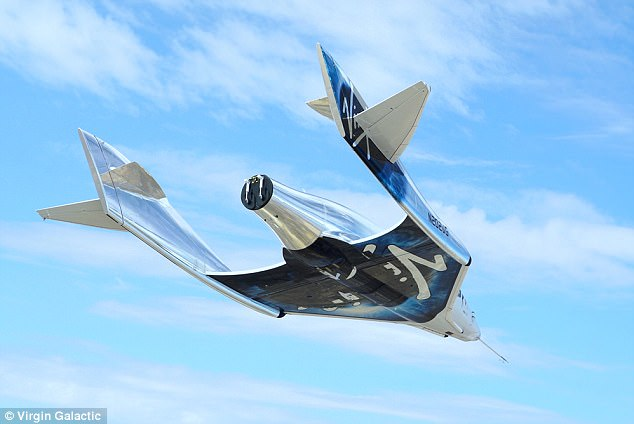 Branson claimed he will go on a trip to space with Virgin Galactic within the next six months. Pictured is a Virgin Galactic VSS Unity spacecraft during a test flight in August this year