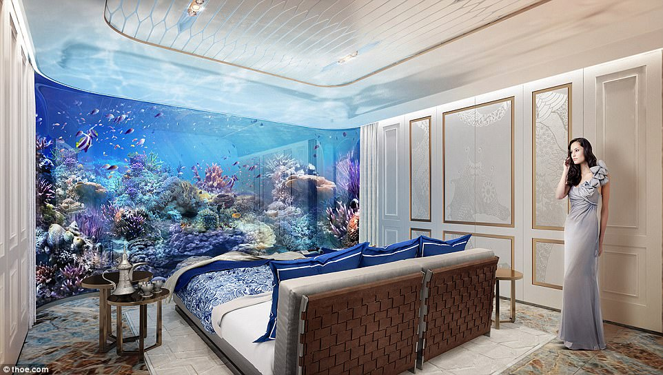 Dream home: The underwater level features the master bedroom and entertainment room with a view of a 'coral reef garden'