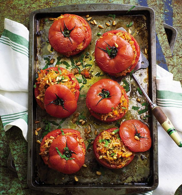 Do away with bowls and serve this tasty rice dish in the tomatoes  themselves