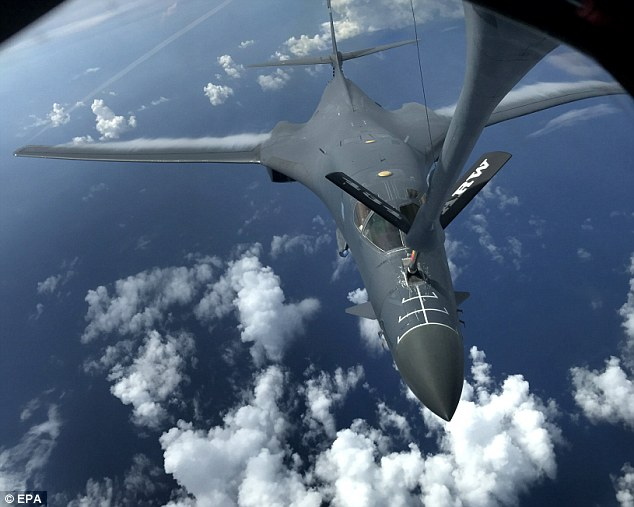 The crews practiced intercept and formation training, which gave them an opportunity to improve their combined capabilities and tactical skills. Above a B-1B Lancer bomber is pictured during the mission