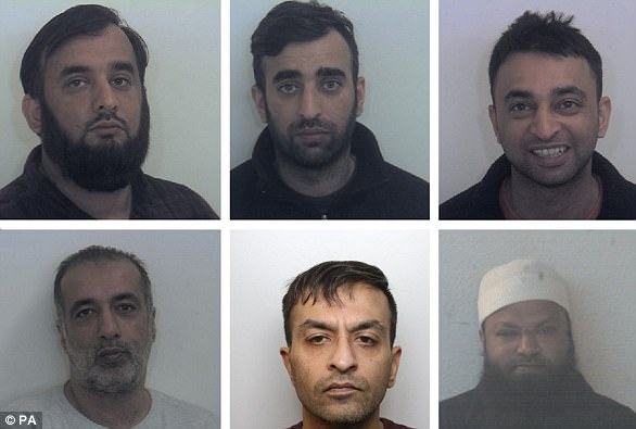 Tayab Dad, Nasar Dad, Basharat Dad, (bottom row left to right) Matloob Hussain, Mohammed Sadiq and Amjad Ali groomed two girls and sexually abused in Rotherham