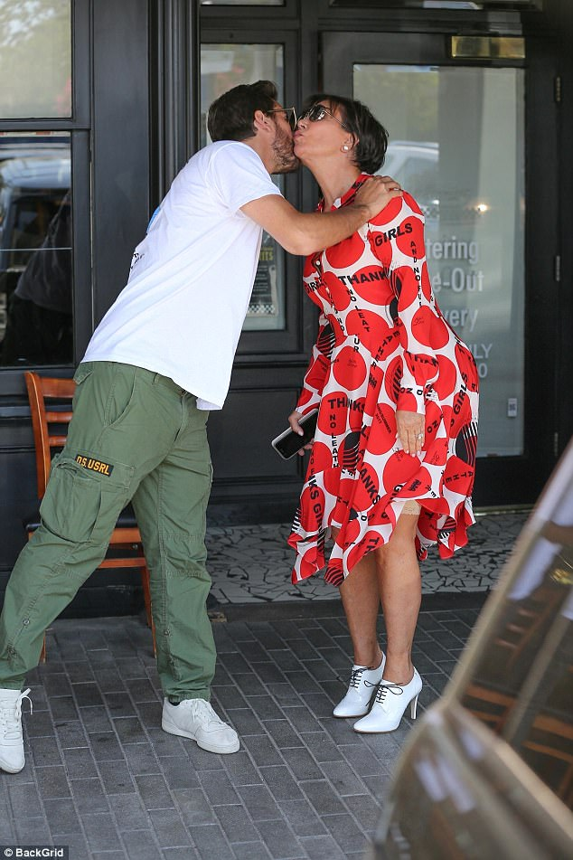 Kris Jenner flashes her Spanx as lunches with Scott Disick