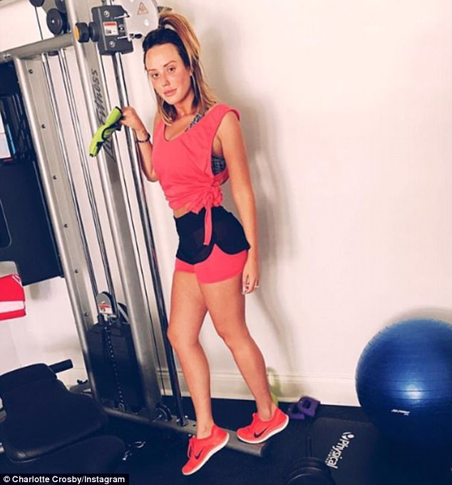 Causing a stir: Charlotte Crosby appeared to divide fans as she celebrated her recent 8lb weight loss with a gym-inspired Instagram post on Sunday