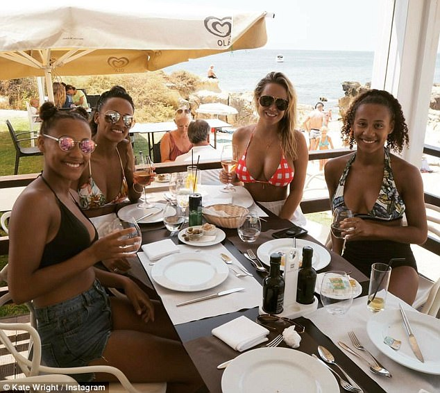 Lunch with the girls: A smitten Kate looked as if her relationship was going from strength to strength as she joined her beau's half sisters for an alfresco lunch