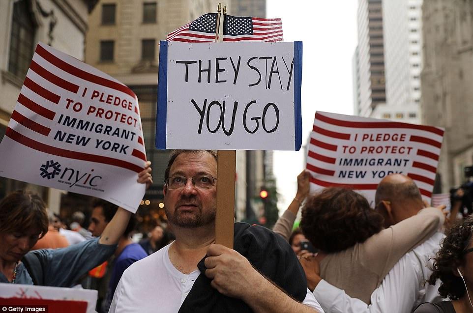 Michael Moore And Mark Ruffalo Protest Donald Trump