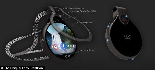 FrontRow connects to smartphones via bluetooth and wifi and features a 8-MP front camera and a 5-MP rear camera, which sits above the 1.96-inch color touchscreen display used to control the device