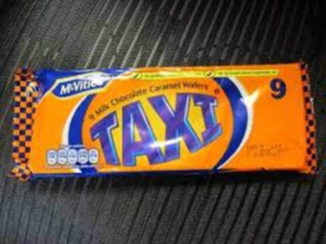 Taxi bars, which were made with layers of wafer, caramel, and chocolate creme, was wrapped in a New York taxi cab style design wrapper