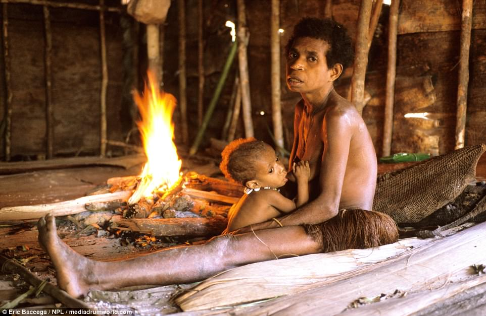 Despite living in a wooden house, built at the top of a tree, the tribe use fire for heating and cooking