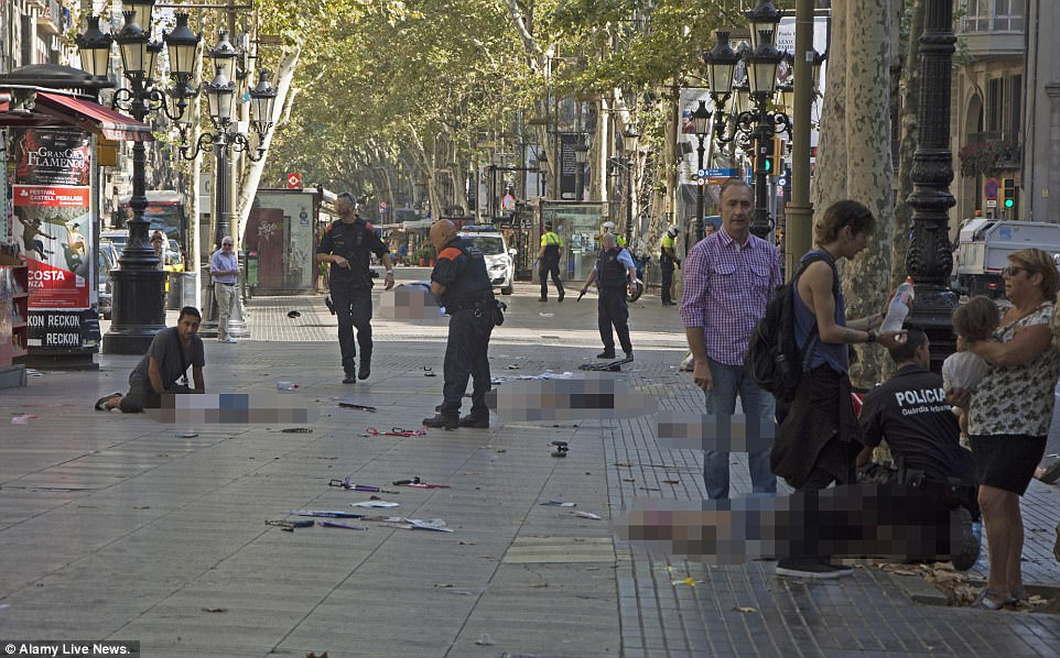There are harrowing scenes in Barcelona after a van was driven into pedestrians in Las Ramblas in the heart of the city. Thirteen people have been killed and dozens have been injured as armed police swarm the streets