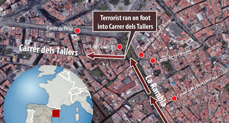 One of the terrorists ran on foot after carrying out the attack in the centre of Barcelona, which is typically packed with tourists