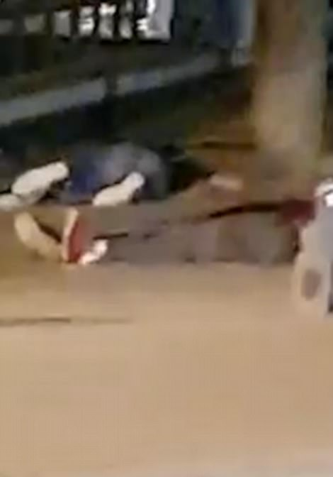 Shocking video footage shows bodies strewn across the ground in the seaside town