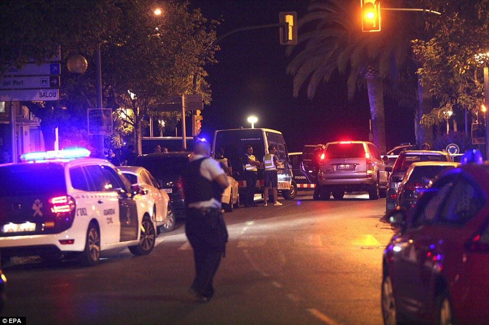 Seven members of the public including a policeman were hurt in the new attack in Cambrils, 70 miles from Barcelona, which saw the jihadis' car overturn before armed police gunned down the suspects