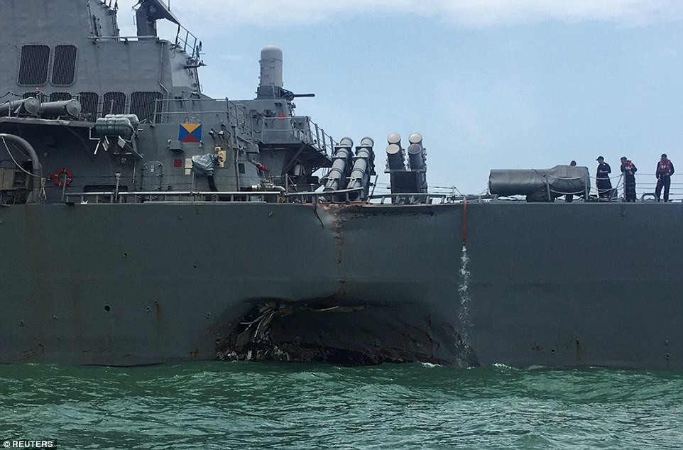 Ten sailors are missing and five were injured after the USS John S McCain was involved in a collision with a 600-foot oil tanker on Monday morning, the Navy said