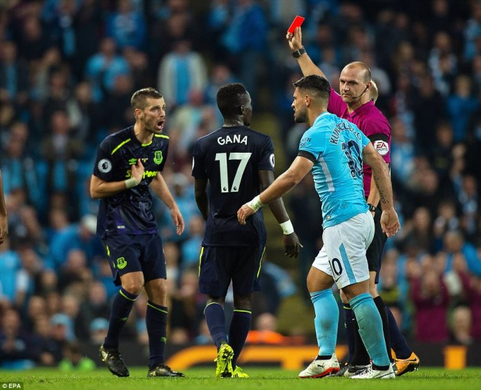 Schneiderlin was sent off late in the contest after sliding in on Aguero, ensuring both sides ended with 10 men