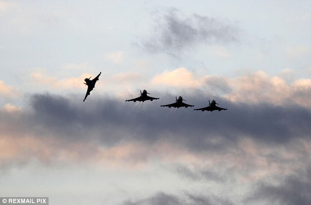 An intense wave of attacks between August 9 and August 21 have seen RAF aircrew destroy targets including a terrorist headquarters in Raqqa, machine gun teams and roving trucks (file image of a Typhoon squadron returning to the Cyprus base used in the counter-terror mission)