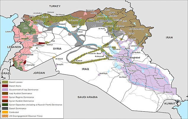 This map of Syria and Iraq issued by the Ministry of Defence lays out the complex war zone in the two nations. The areas marked yellow and black were once held by ISIS but have seen the terrorists forced out by allied military action