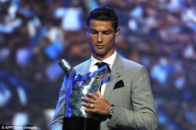 Cristiano Ronaldo has picked up the UEFA Player of the Year award and named his rivals