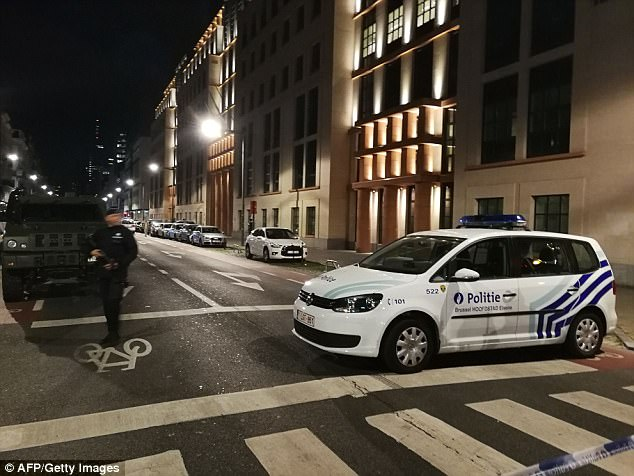 The country's prime minister Charles Michel tweeted: 'All our support is with our soldiers. Our security services remain on alert. We are following the situation closely.' Pictured: The scene in Brussels