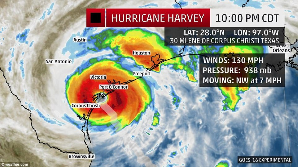 The storm had sustained winds of 130mph on Friday evening when it made landfall on the Texas coast