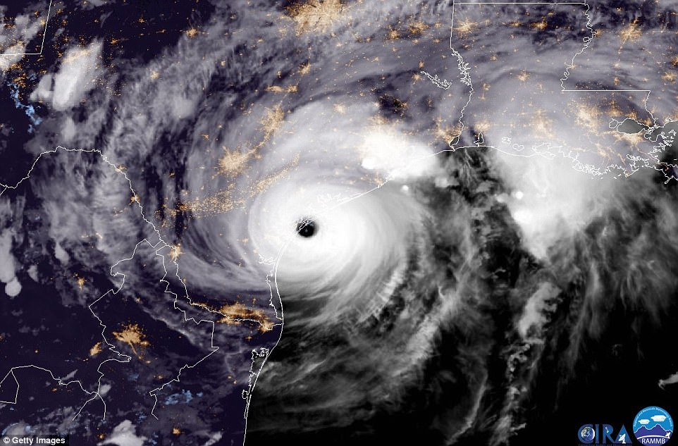 In this NOAA handout image, a satellite captures Hurricane Harvey making landfall shortly after 8.00pm local time on Friday