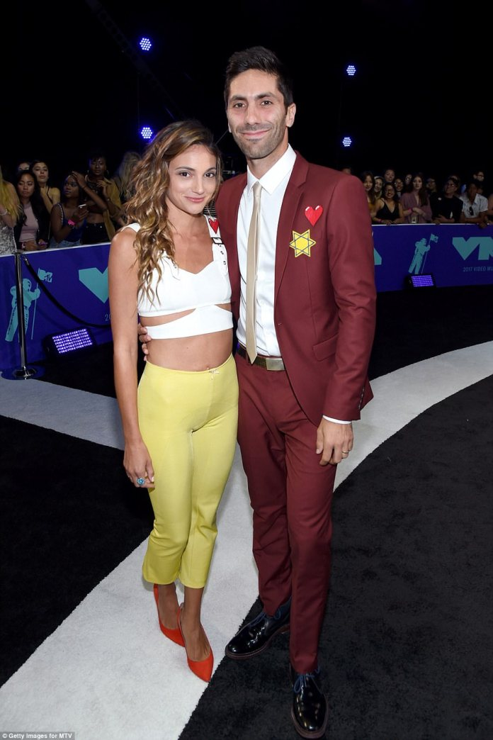 Happy together:Laura Perlongo (left) and Catfish star Nev Schulman happily posed together at the gala