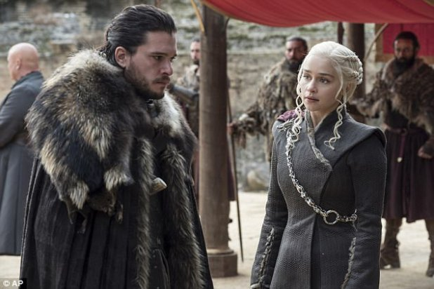 Before THAT sex scene: Emilia Clarke as Daenarys Targaryen with Kit Harington as Jon Snow in Sunday night's Season 7 finale of Game Of Thrones on HBO. Her reaction was 'Ewww!'