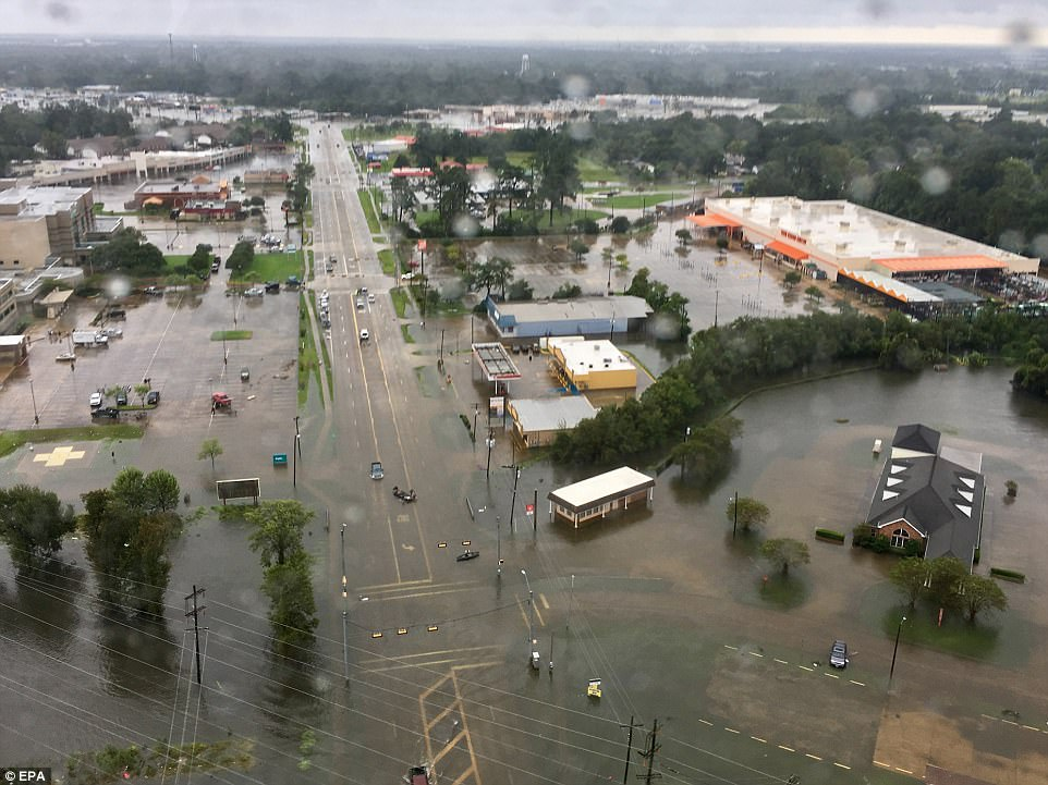 Residents in some parts of Tyler County, which has a population of around 20,000 which sits to the north of the city, were told to 'get out or die' on Wednesday night as rivers overflowed, triggering yet more floods. Pictured: Orange, Texas