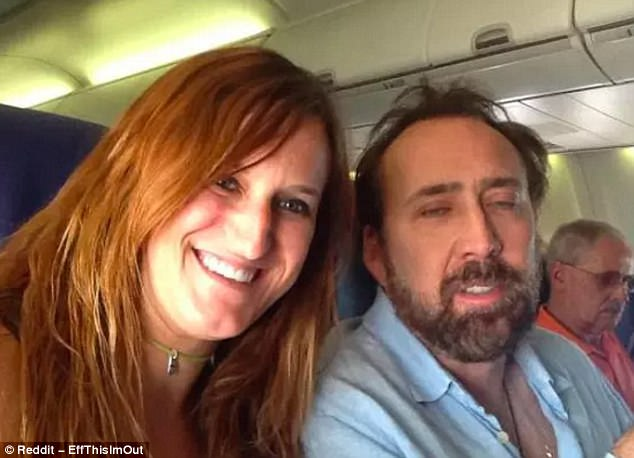 This photo went viral after the uploader got a less-than flattering snap of Nicholas Cage on a flight