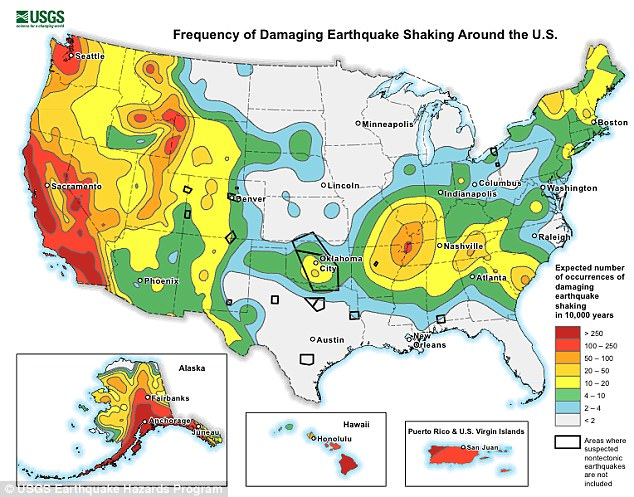 A recent assessment by the USGS determined that the earthquake hazard along the East Coast may previously have been underestimated. The varying risks around the US can be seen above, with New York City in the mid-range (yellow)