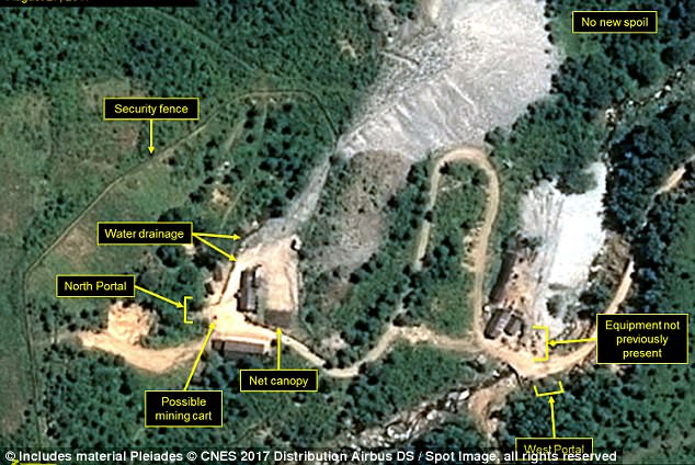 Overhead pictures of Punggye-ri nuclear test site from August 17, published by 38 North. The detonation occurred close to this location, and vibrations were felt in China and Russia