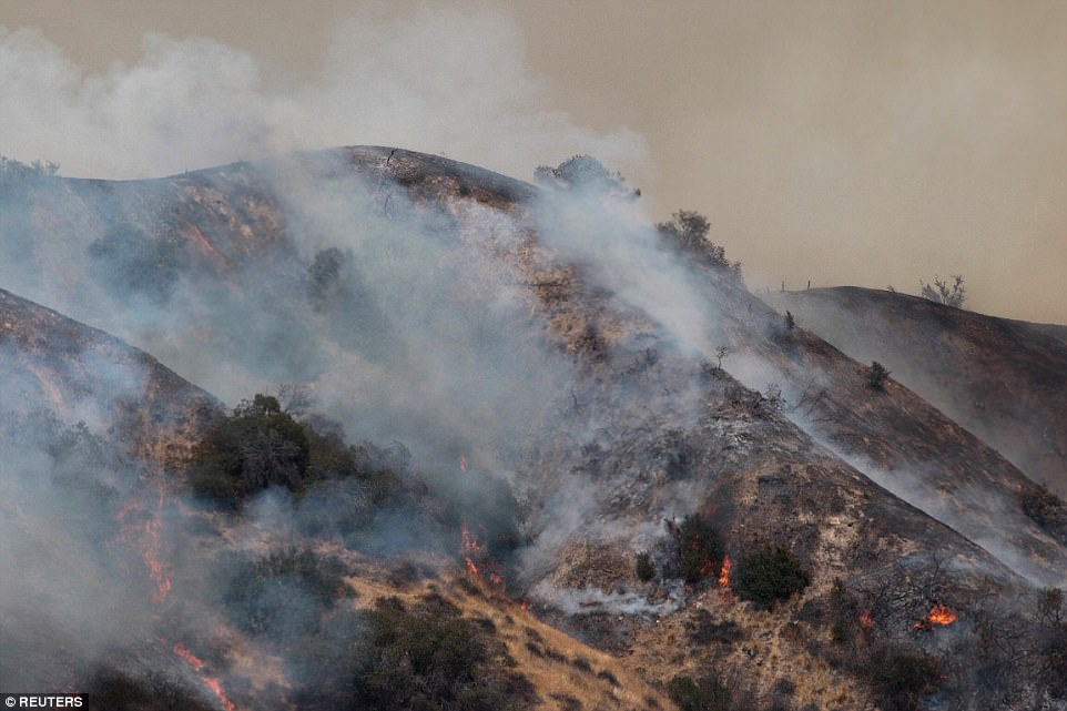 The La Tuna Canyon fire over Burbank Saturday as fire weaves through the hillside eating brush and trees in its path