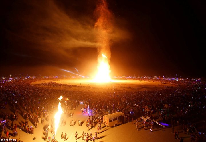 The Man is engulfed in flames as approximately 70,000 people from all over the world gathered for the annual arts and music festival to watch the wooden effigy burn