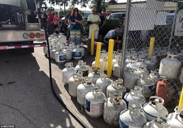 In preparation of Hurricane Irma, residents of Boca Raton line up for propane on Wednesday