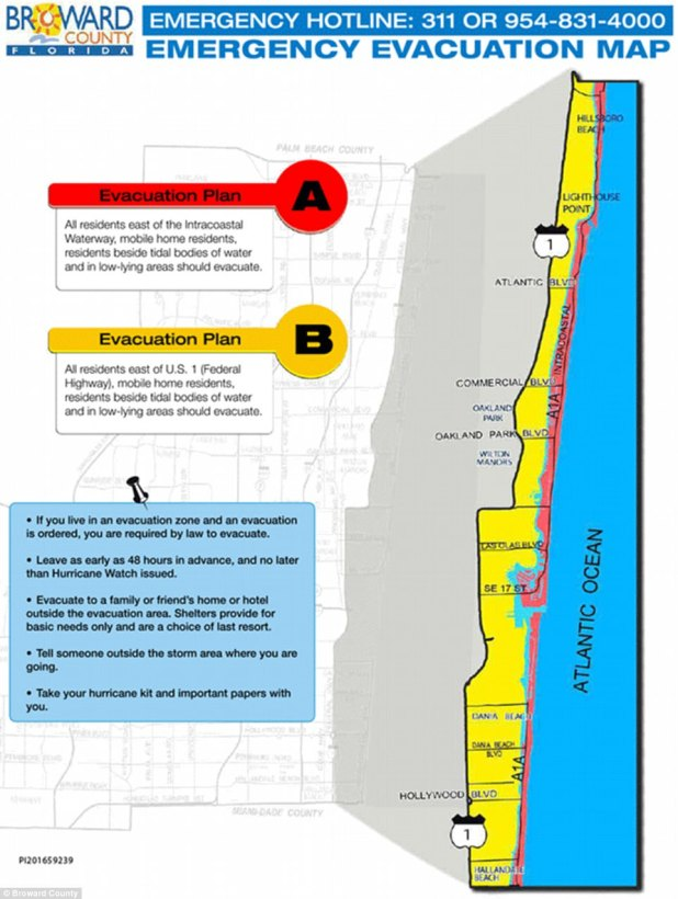 The evacuation area is much smaller for Broward County, Florida, which includes the city of Fort Lauderdale