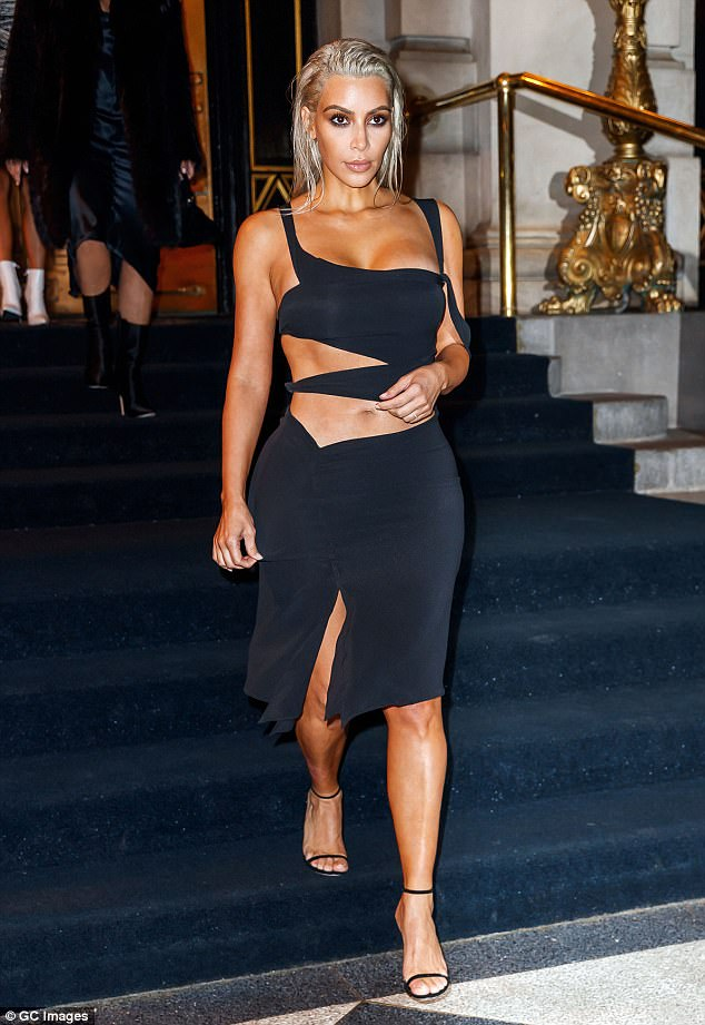 Beautiful: Kim stepped out rocking her signature strappy black heels