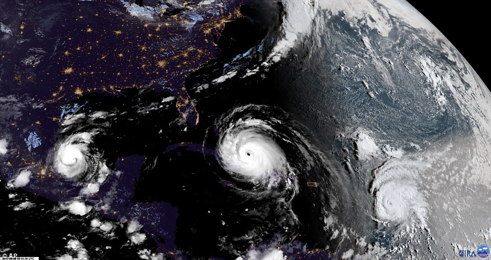In this geocolor image GOES-16 satellite image taken on Friday, Hurricane Irma, center, approaches Cuba and Florida, with Hurricane Katia, left, in the Gulf of Mexico, and Hurricane Jose, right, in the Atlantic Ocean