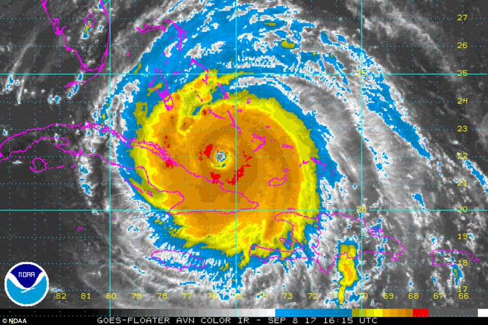 The hurricane as of 12:15pm on Friday, as seen from radar satellite. The hurricane weakened to a Category 4 storm overnight