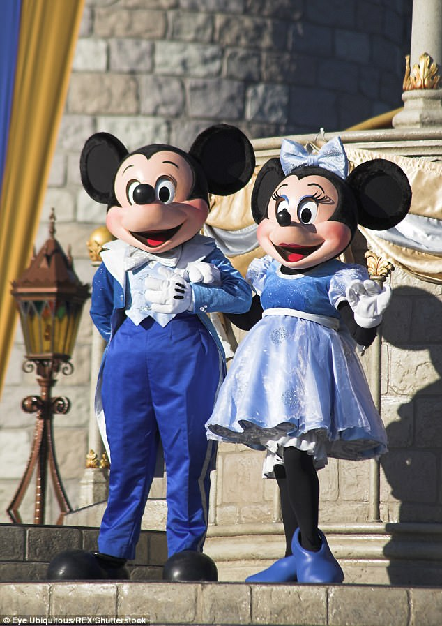 Mickey and Minnie Mouse characters on stage in the Magic Kingdom, Walt Disney World Resort in Orlando, Florida
