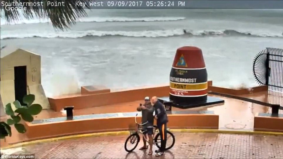 A livestream video captured residents taking selfiesin Key West, Florida on Saturday despite the catastrophic storm tearing towards the city