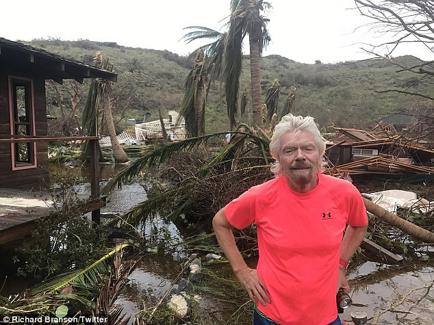 Richard Branson (pictured) has posted photos and videos revealing just how devastating Hurricane Irma has been on the British Virgin Island of Necker