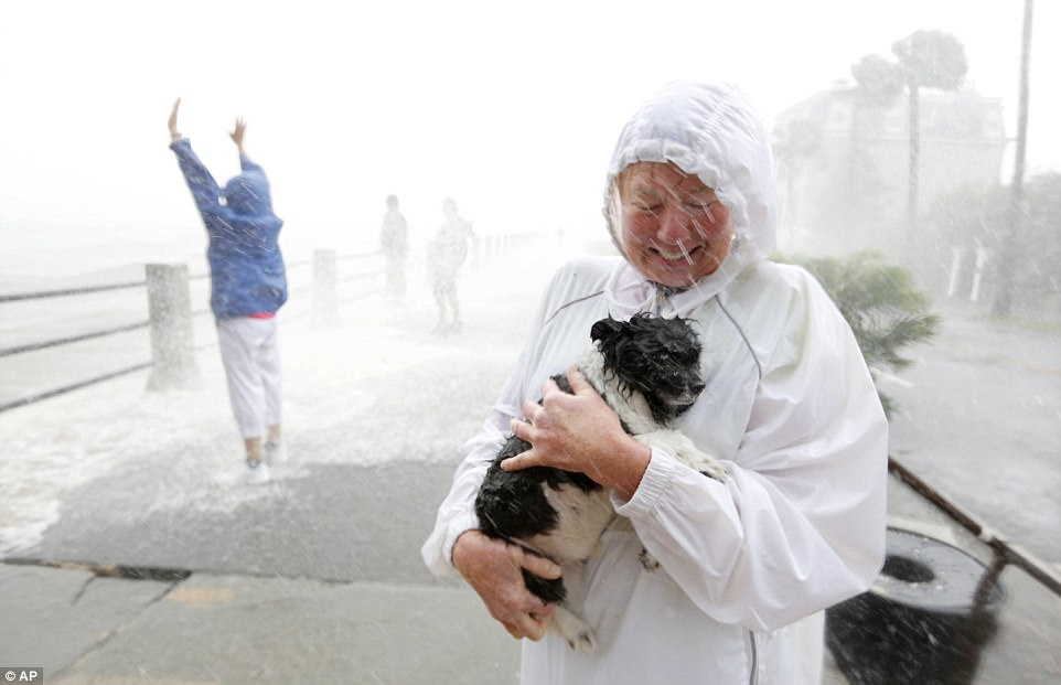 A pet owner protects her dog as pedestrians prepare for waves crashing over The Battery as Hurricane Irma hits Charleston, South Carolina on Monday