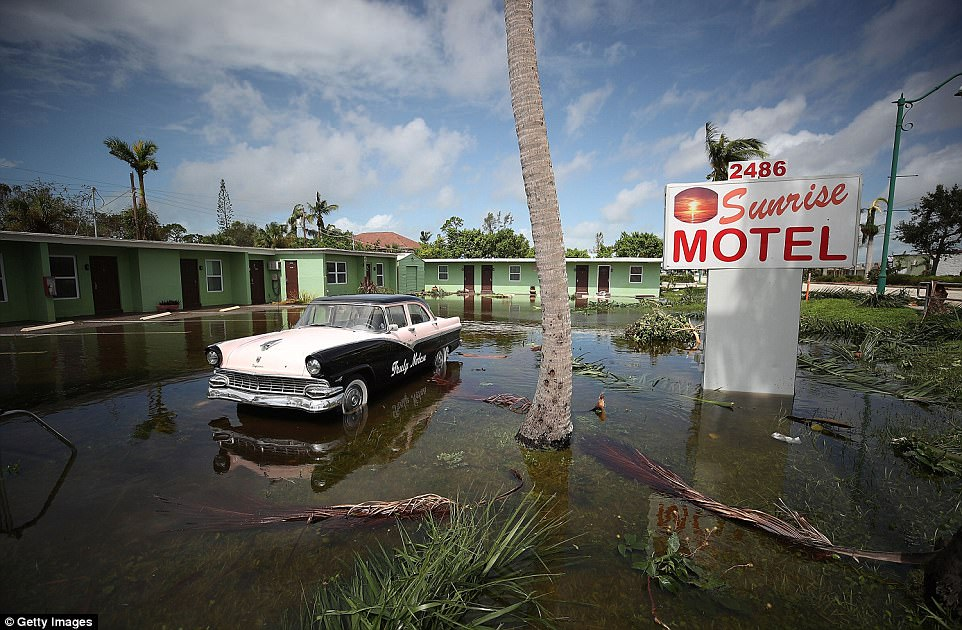 The Sunrise Motel remains flooded after Hurricane Irma hit the area on September 11, 2017 in East Naples, Florida