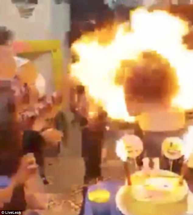 The girl engulfed in flames when the birthday party, believed to be in Argentina, goes horribly wrong