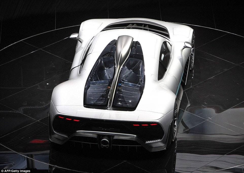 The Project One hypercar is displayed during a preview night for the International Frankfurt Motor Show