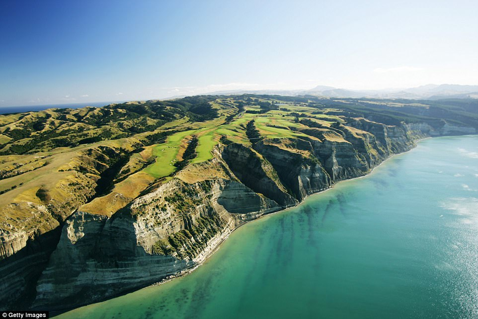 Cape Kidnappers golf course in New Zealand boasts a dramatic location, perched 459 feet above sea level on a cliff edge